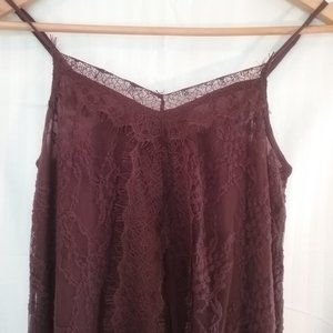 American Eagle Camisole Burgundy Lace New XS